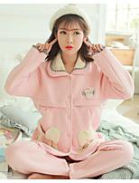 Nuisette & Culottes Pyjamas Femme,Imprimé Motif Animal Polyester Rouge Rose Claire