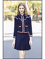 Women's Daily Going out Casual Fall Set Skirt Suits,Striped Stand Long Sleeves Others