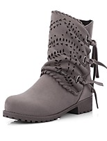 cheap -Women's Shoes Leatherette Fall Winter Fashion Boots Boots Round Toe Booties/Ankle Boots Buckle For Casual Dress Green Gray