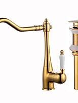Centerset Ceramic Valve Gold , Kitchen faucet