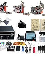 Basekey Professional Tattoo Kit Knight 3 Machines Silver  Liner & Shader With Power Supply Grips Cleaning Brush  Needles