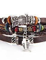 Homme Femme Bracelets de rive Bracelets en cuir Rétro Pierre Cuir Chapelet Chouette Bijoux Pour Mariage Soirée Halloween Anniversaire