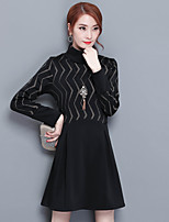 Women's Going out Plus Size Street chic A Line Dress,Print Turtleneck Above Knee Long Sleeve Polyester Winter Fall Mid Rise Micro-elastic