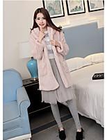 Women's Daily Cute Winter Fall Fur Coat,Solid Long Sleeves Long Faux Fur