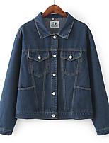 Veste en jean Femme,Couleur Pleine Décontracté / Quotidien simple Hiver Manches longues Col Arrondi Longue Coton Acrylique énorme