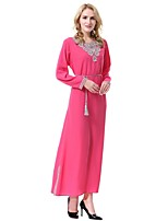 cheap -Women's Party Casual/Daily Vintage Loose Jalabiyah Kaftan Dress,Solid Jacquard Round Neck Midi Long Sleeve Wool Polyester All Season Mid