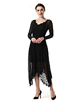 SUOQI Women's Party Bar Vintage Sexy Sheath DressSolid Jacquard V Neck Midi Long Sleeve 100% Polyester Spring/Fall Summer Medium Waist