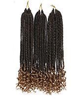 economico -Trecce Twist 3 pezzi Trecce di capelli Riccio Riccio stile senegalese 40cm Nuovo arrivo Treccine afro Capelli sintetici Nero Naturale