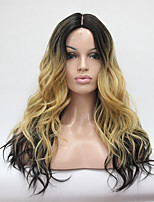 cheap -Hivision Heat Resistant Natural Hairline Ombre Darkest Brown And Blonde Mix Wavy Long Wig small edge Lace Synthetic Wigs