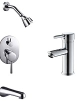 Comtemporary Tub And Shower Rain Shower Wall Mount with  Ceramic Valve One Hole for  Chrome , Shower Faucet