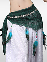 Belly Dance Hip Scarves Women's Training Sequin Lace Feathers / Fur Lace Silver Coin Tassel(s) Hip Scarf