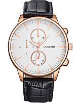 Men's Women's Fashion Watch Wrist watch Quartz Leather Band Black Brown