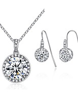 cheap -Women's Drop Earrings Pendant Necklaces Cubic Zirconia Rhinestone Simple Elegant Wedding Evening Party Silver Cubic Zirconia