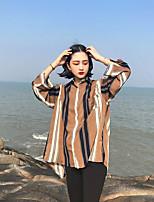 cheap -Women's Daily Street chic Shirt,Striped Color Block Shirt Collar Long Sleeves Cotton