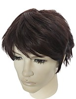 Men Synthetic Wig Capless Short Kinky Straight Ash Brown Natural Hairline Asymmetrical Haircut Celebrity Wig Natural Wigs Costume Wig