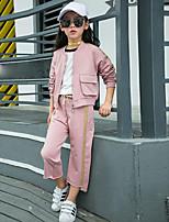 cheap -Girls' Solid Clothing Set,Cotton Spring Fall Blushing Pink Khaki