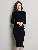 Women's Work Casual Autumn/Fall Sweater Skirt Suits,Solid Round Neck Long Sleeves Others