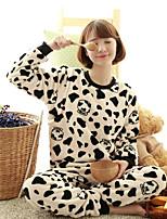 Nuisette & Culottes Pyjamas Femme,Imprimé Fleurs Polyester Blanc