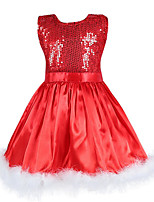 cheap -Girl's Christmas Casual/Daily Solid Embellished&Embroidered Halloween Dress,Cotton Polyester Spring, Fall, Winter, Summer All Seasons