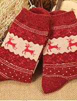 cheap -Women's Hosiery Socks,Wool Reindeer 2pcs Red Brown