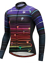 Cycling Jersey with Tights Men's Long Sleeve Bike Jersey Thermal / Warm Winter Sports Polyester Spandex Fleece Stripe Patterns Fashion