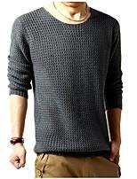 Для мужчин Спорт Простой Обычный Пуловер Однотонный,Круглый вырез Длинный рукав Эластан Полиамид Зима Плотная strenchy
