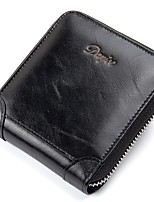 Men Bags Cowhide Wallet 2 Pieces Purse Set Zipper for Casual Office & Career All Season Black Dark Blue Brown