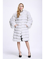 Women's Going out Simple Casual Winter Fur Coat,Solid Long Sleeves Long Faux Fur