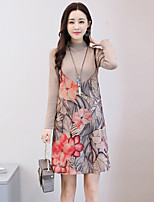 Women's Daily Going out Sexy Chinoiserie Boho Sweater Skirt Suits,Floral Others
