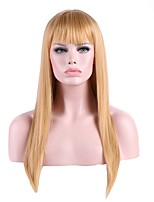 Women Synthetic Wig Long Straight Blonde Wigs With Bangs For American