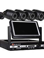economico -Sistema di telecamere di sicurezza a 4 canali Telecamere a prova di intemperie da 40 pollici con tecnologia dvr da 41 pollici a cristalli