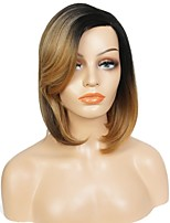 Women Synthetic Wig L Part Medium Length Straight Yellow Ombre Hair Dark Roots Bob Haircut Celebrity Wig Natural Wigs Costume Wig