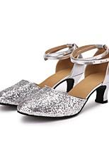 """billige -Damer Moderne Paillette Syntetisk læder Sneaker Indendørs Strå Personligt tilpassede hæle Sølv 2 """"- 2 3/4"""" Kan tilpasses"""