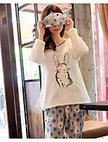 Nuisette & Culottes Pyjamas Femme,Imprimé Imprimé Polyester Beige