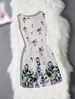Robe Fille de Anniversaire Sortie Fleur Jacquard Coton Polyester Sans Manches