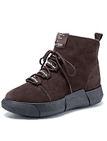 cheap -Women's Shoes Nubuck leather Winter Fashion Boots Boots Round Toe Mid-Calf Boots For Casual Brown Black