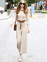 Women's Daily Street chic Fall Sweater Pant Suits,Solid Striped Round Neck Long Sleeve Polyester