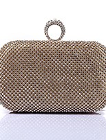 Women Bags Polyester Evening Bag Crystal Detailing for Wedding Event/Party All Season Gold Silver