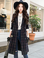 Women's Daily Going out Simple Vintage Casual Winter Coat,Plaid Vintage Peak Long Sleeves Long Wool Rayon Acrylic Polyester Vintage Style