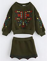 Girls' Floral Print Clothing Set,Cotton Fall Long Sleeves Green
