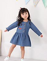 Girl's Daily Solid Dress,Cotton Fall Long Sleeves Casual Blue