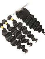 Недорогие -Натуральные волосы Реми Перуанские волосы Человека ткет Волосы Высокое качество Свободные волны Наращивание волос 4шт Черный