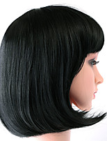 Women Synthetic Wig Lace Front Short Straight Black Bob Haircut Halloween Wig Cosplay Wig Natural Wigs Costume Wig