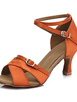 Women's Latin Satin Sandal Heel Indoor Cuban Heel Orange 2