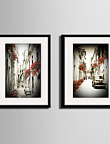 Architecture Landscape Vintage Framed Canvas Framed Set Wall Art,PVC Material With Frame For Home Decoration Frame Art Living Room