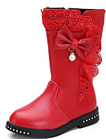 cheap -Girls' Shoes Synthetic Microfiber PU Winter Fall Fashion Boots Boots Walking Shoes Mid-Calf Boots Bowknot For Casual Burgundy Pink Red
