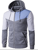 cheap -Men's Daily Going out Hoodie Solid Cotton Long Sleeves