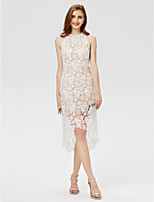 Sheath / Column Jewel Neck Asymmetrical Lace Cocktail Party Dress with Lace by TS Couture®