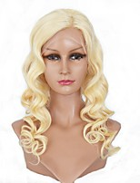 Women Human Hair Lace Wig Eurasian Human Hair Lace Front 130% Density Body Wave Wig Light Blonde Medium Length