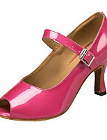 Women's Latin Leatherette Sandal Indoor Customized Heel Fuchsia